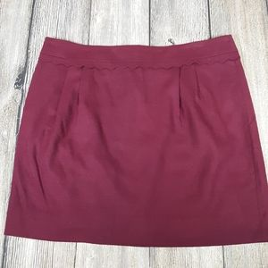 J Crew scalloped wool skirt maroon size 14